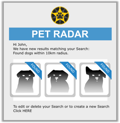 Pet Radar email